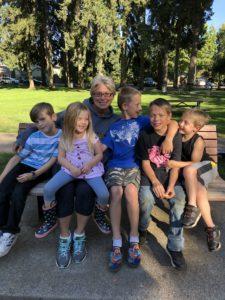 Susan Pierce with five of her grandchildren