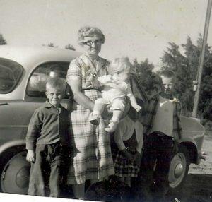 Marie with Denny Ed Jan Karen ( grandchildren)